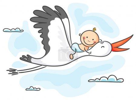 Illustration pour Cigogne portant un bébé heureux - image libre de droit