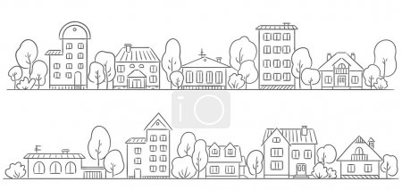 Illustration for Trees and houses in a row for your frame or border - Royalty Free Image