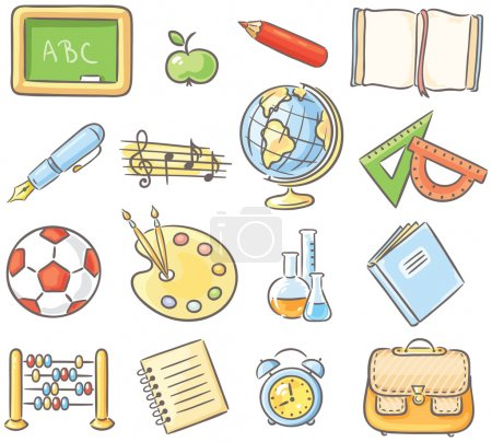 Set of 16 school thing representing different subjects