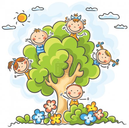 Illustration for Happy kids playing in the tree - Royalty Free Image