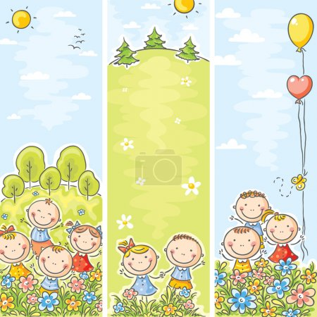 Photo pour Bannières verticales pour enfants heureux avec espace de copie - image libre de droit