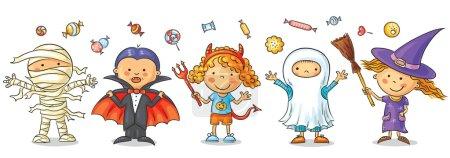 Photo pour Ensemble d'enfants colorés en costumes d'Halloween - image libre de droit