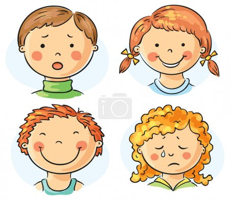 Illustration for Set of 4 cartoon kids faces with different emotions - Royalty Free Image