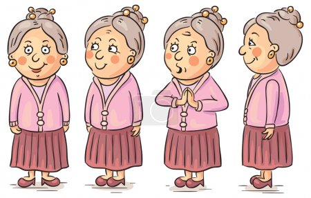 Illustration for Grandmother cartoon character at different angles - Royalty Free Image