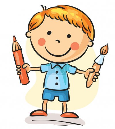 Illustration for Little boy holding a brush and a pencil - Royalty Free Image