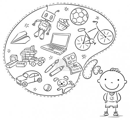 Illustration for Little boy dreaming or thinking about things he likes, toys, books, sweets, sport, computer - Royalty Free Image
