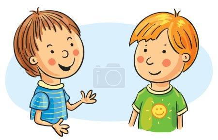 Two Cartoon Boys Talking