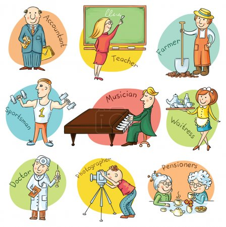 Photo for Cartoon profession set including waiter, teacher, athlete, pianist, doctor, photographer, bookkeeper, farmer - Royalty Free Image