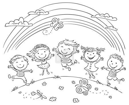 Photo pour Enfants sautant de joie sur une colline sous l'arc-en-ciel, contour noir et blanc - image libre de droit