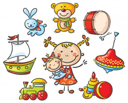 Illustration for Little girl with a set of cartoon toys - Royalty Free Image