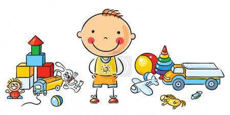 Illustration pour Little cartoon boy with a lot of toys, isolated - image libre de droit