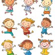 Nine happy kids dancing or jumping with joy, no gr...