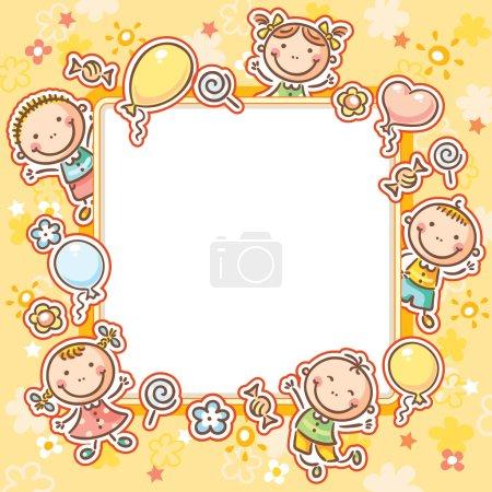 Photo pour Cadre carré avec cinq enfants heureux, bonbons et ballons - image libre de droit