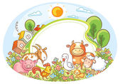 Oval frame with farm animals houses trees and flowers