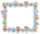 Rectangular frame with happy cartoon kids pets and flowers