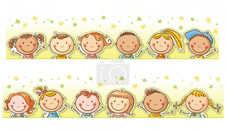 Illustration for Border frame with 12 happy cartoon kids - Royalty Free Image