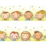 Border frame with 12 happy cartoon kids...
