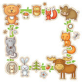 Square Frame with Forest Animals