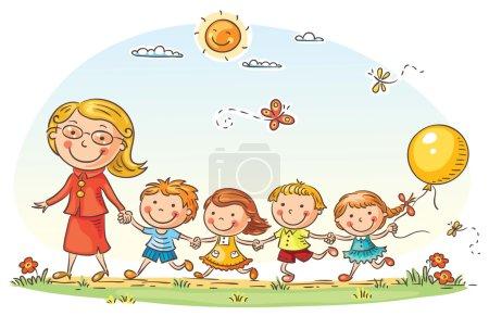 Photo pour Cartoon kids et leur professeur sur une promenade dans le jardin d'enfants - image libre de droit