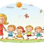 Cartoon kids and their teacher on a walk in the ki...