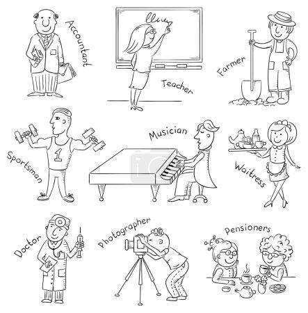 Photo pour Ensemble de profession, dessiné à la main, noir et blanc - image libre de droit