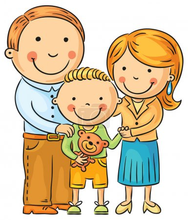 Illustration for Happy family with a little son, isolated on white, no gradients - Royalty Free Image
