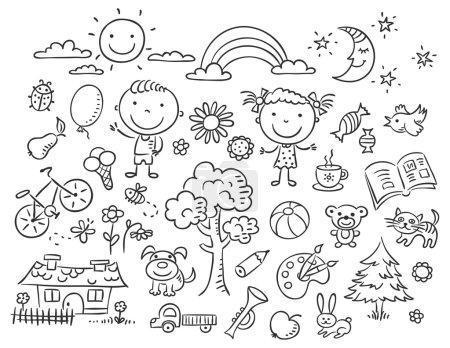 Photo pour Doodle ensemble d'objets de la vie d'un enfant, contour noir et blanc - image libre de droit