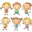 Ten happy cartoon kids colored in a doodle style p...