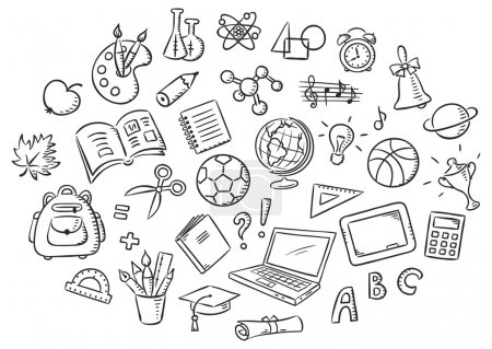 Illustration for Set of simple cartoon school things colored in a doodle style pencil imitation, black and white outline - Royalty Free Image