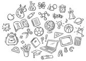 Set of Simple Cartoon School Things Black and White Outline