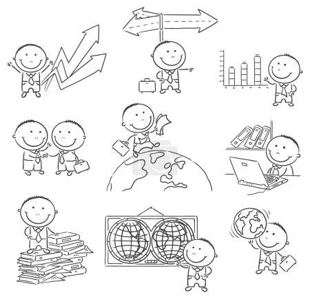 Cartoon Businessman Set, Outline