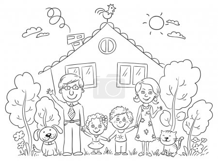 Illustration for Happy cartoon family with two children and pets near their house with a garden, black and white - Royalty Free Image