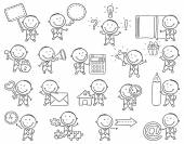 Set of cartoon businessmen with objects black and white outline