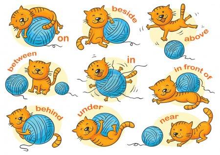 Illustration pour Chat de bande dessinée dans différentes poses pour illustrer les prépositions de lieu, aucun gradient - image libre de droit