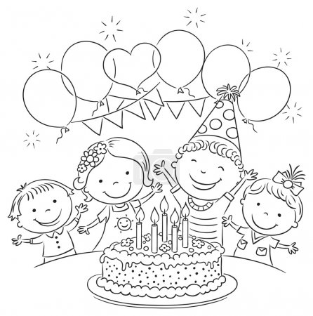 Illustration for Kids birthday party with a big cake and colorful balloons, black and white outline - Royalty Free Image