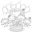 Kids birthday party with a big cake and colorful b...