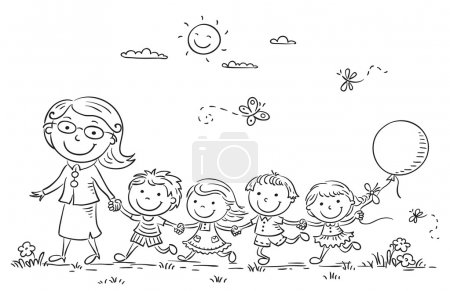 Cartoon Kids and their Teacher Outdoors, Outline