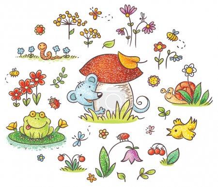 Photo pour Fleurs, insectes et animaux dessinés à la main pour enfants, pas de dégradés - image libre de droit