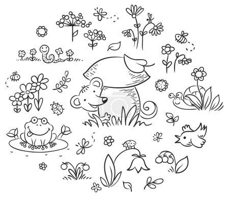 Photo pour Fleurs, insectes et animaux dessinés à la main pour enfants, contour noir et blanc - image libre de droit