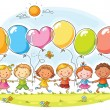 Happy kids outdoors with balloons with copy space,...