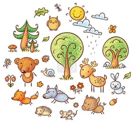 Illustration pour Ensemble d'animaux et de plantes de la forêt de dessins animés, sans gradients - image libre de droit