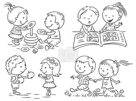 Illustration pour Ensemble de quatre dessins animés illustrant la communication et les activités communes des enfants, contour noir et blanc - image libre de droit