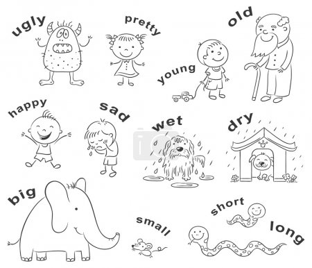 Illustration for Black and white cartoon characters illustrating antonymous adjectives, can be used as a teaching aid for a foreign language learning - Royalty Free Image