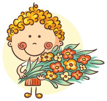 Illustration pour Enfant tenant un grand bouquet de fleurs - image libre de droit