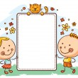 Kids with a frame with copy space...