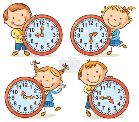 Photo pour Petits enfants dessin animé indiquant l'heure fixée - image libre de droit