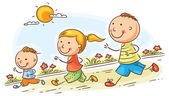 Happy cartoon family jogging together no gradients