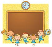 Happy schoolkids with a blackboard