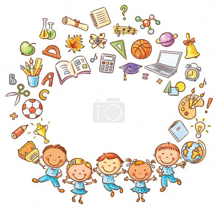Happy schoolkids with a lot of school things as a frame with a copy space