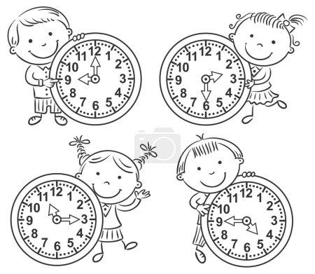 Photo pour Petits enfants racontant l'heure fixée, contour noir et blanc - image libre de droit